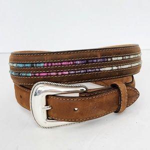 Tony lama Brown Leather Beaded Belt size 30